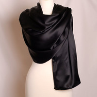 "Black Silk Charmeuse Shawl, Elegant Evening Wrap or Large Scarf, Large 22 x 71"" 19mm Mulberry Silk"