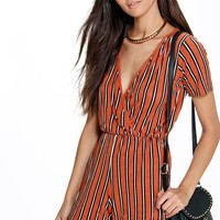 Tara Striped Wrap Front Playsuit