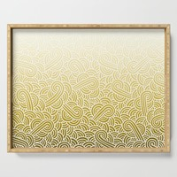 Faded yellow and white swirls doodles Serving Tray by savousepate
