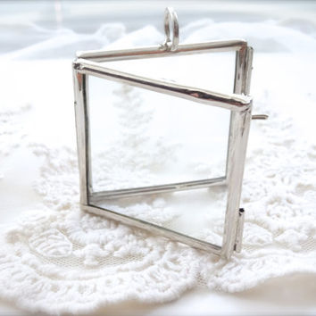 Large Square Silver Double Pane Glass Display Locket Pendant