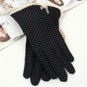 New Arrival Summer Sun-shading Sunscreen Glove,Women 100% Cotton Slip-resistant Thin Short Gloves Black