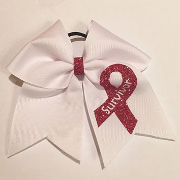 Breast Cancer Cheer Bows  Fighter, Hope, and Survivor