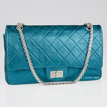 Chanel Turquoise 2.55 Reissue Quilted Classic Leather 227 Jumbo Flap Bag