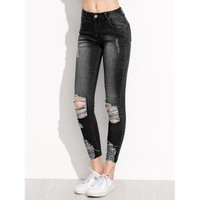 Up High Distressed Ankle Jeans - Black