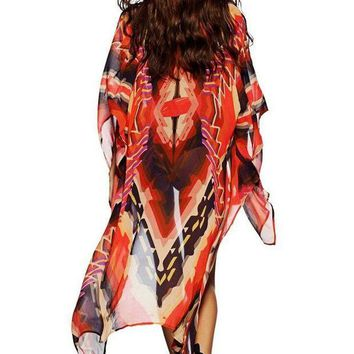 PEAP78W Red Tribal Print Open Front Kaftan Beach Cover Up