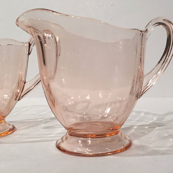 Fostoria Fairfax Rose Pink Depression Glass Creamer & Sugar | Footed Creamer and Sugar Bowl Set