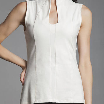 Women's Organic Cotton and Soy Sleeveless Top/ Ecofriendly Collared Women's Shirt/ Symmetry Top in Natural/ Sustainable Women's Fashion.