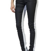 Women's Stretch Color Block Jeans by Gazoz White/Black 15
