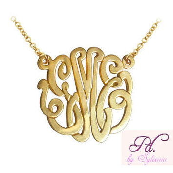 Initials Monogram Necklace Pendant 24k Yellow Gold Plated over 925 Sterling Silver, Celebrities Jewelry, Perfect Gift for Her, Romantic Gift