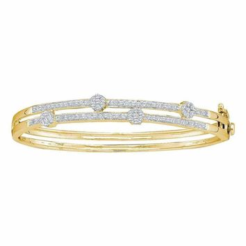 14kt Yellow Gold Women's Round Diamond Flower Cluster Bangle Bracelet 1.00 Cttw - FREE Shipping (US/CAN)