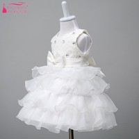 White Cute Puffly flower Girls Dresses For Wedding 2018 In stock Cheap Little girls Bow robe enfant mariage China  ZF003