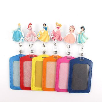 1Pcs lovely princess Retractable Badge Reel vertical Style Student Nurse Exihibiton ID Name Card Badge Holder Office Supplies