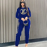LV  New fashion letter print long sleeve sweater top and pants two piece suit Blue