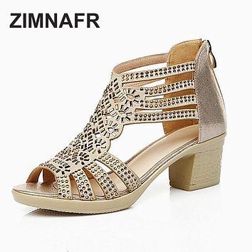 ZIMNAFR BRAND 2017 summer female sandals  leather fish mouth sandals cowhide diamond hollow high heel women GLADIATOR SANDALS