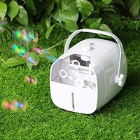 1byone Portable Bubble Machine, Automatic Bubble Blower Powered by Both Plug-in and Batteries, Outdoor/Indoor Bubble Makers with High Output-white