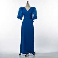Vintage Dress 60's/70's Miss Elliotte Evening Gown with Pleated Chiffon Sleeves size X-Small