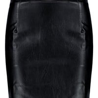 Iman Woven A Line Leather Look Mini Skirt | Boohoo