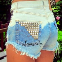 Ombre studded shorts,Levis high waist studded denim shorts by Jeansonly