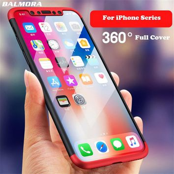 BALMORA 360 Degree Full Cover Phone Case For iPhone 7 8 6 6s Plus Matte Shockproof PC Cover For iPhone 5 5S 10 X Protective Case