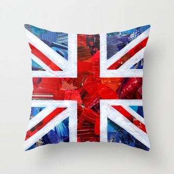 British Flag Indoor OR Outdoor Throw Pillow COVER, Decorative Pillow cover, Home Decor Colorful Pillows for Couch, Union Jack decor