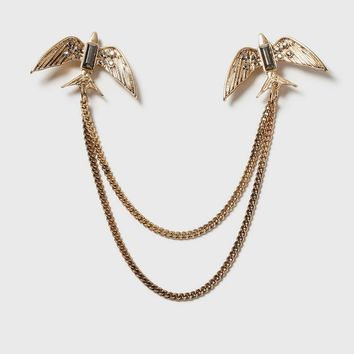 Bird Chain Collar Pins