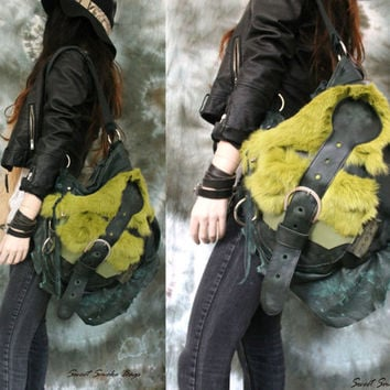 Pistachio green fur leather unique purse cyberpunk high fashion hobo bag goth rocker metalhead asymmetrical shape by sweetsmokebags