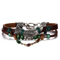 Leather Bracelet for Women Multilayer Charm Bangle Wrap Retro Punk,20cm