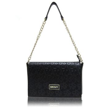 """DKNY"" Fashion All-match Embossed Letter Metal Chain Single Shoulder Messenger Bag Women Flip Small Square Bag"