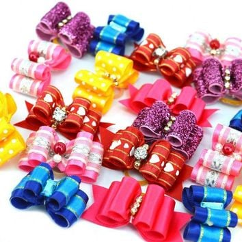 10 piece set Headdress Products Fashion Pet Puppy Hairpin Flower Hair Bows Pet Dog Grooming Accessories