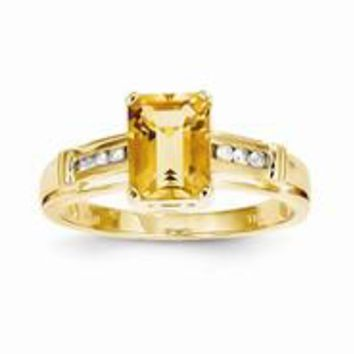 14k Yellow Gold Citrine and White Topaz Square Ring
