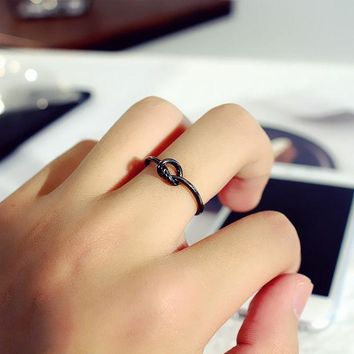 LMFON Simple Fashion Knotted Concentric Knot Unisex Ring Couple Little Finger Ring Open Ring