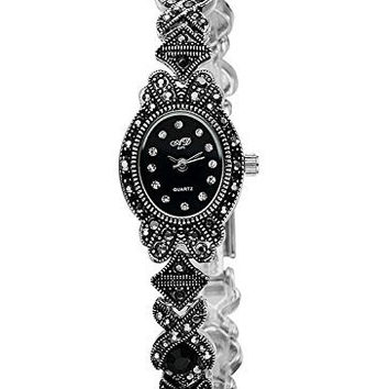 Womens Oval Marcasite Watch w/ Black Face and Stones