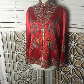 Dynasty Beaded Dragon Jacket - 1950s beaded jacket - red silk jacket - couture jacket - vintage boho  - hand beaded jacket - rare vintage