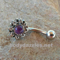 Amethyst Center Flower Belly Button Ring Navel Ring Belly Piercing 14ga 316L Surgical Stainless Steel Body Jewelry
