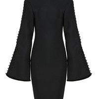 Honey Couture KAREENA Black Long Bell Sleeve Button Detail Mini Bandage Dress
