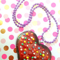 Kawaii Chocolate Heart Cookie Necklace with Sprinkles//Gift Ideas For Her//Stocking Stuffers