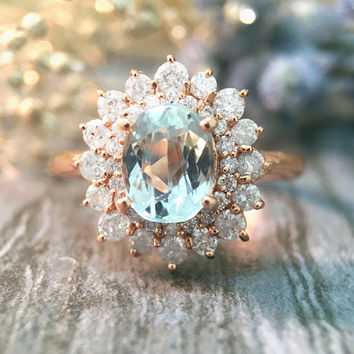 Aquamarine and Diamond Solid Rose Gold Ring (Free Shipping)