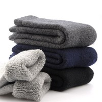 1 Pair New Winter Men's Super Thick Thermal Wool Cashmere Classic Business Brand Man Casual Breathable Winter Warm Hike Socks