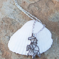 Dainty Unicorn Horse Necklace- SLIVER