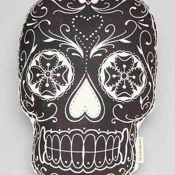 The Rise And Fall Sugar Skull Pillow- Black & White One