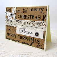 Merry Christmas Card - Peace Card - Ivory and Kraft Card - Holiday Card - Vintage Style - Paper Butterfly - Blank Card - Ivory Lace Trim