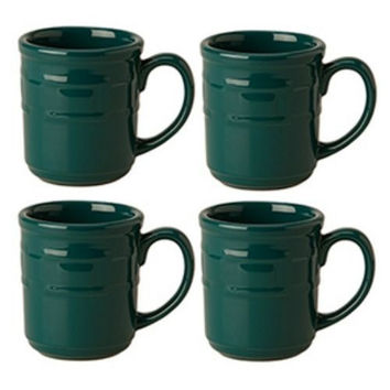 Longaberger Woven Traditions®  Pottery Dinnerware 4 Mugs TEAL **NEW**