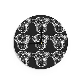 "Maria Bazarova ""Monkey"" White Animals Wall Clock"