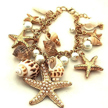Summer Womens Jewlery Sweet Nature Sea Shell Pearl Bracelet