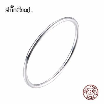 Shineland 2017 Top Sale Simple Slim Tail Ring for Men Women Elegant Wide 1mm Engagement Finger Rings 925 Sterling Silver Jewelry