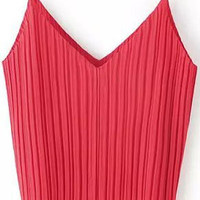 Red Pleated Strappy Top
