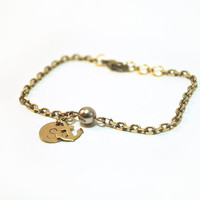 Initial bracelet with hand stamped charm, personalized bracelet, anchor bracelet with brass chain