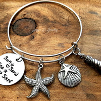 Handstamped Beach Bangle Bracelet, Sun Sand Sea Surf Bracelet, Beach Life Beach Girl, Life at the Beach, Beach Lovers Bracelet, Gift for Her