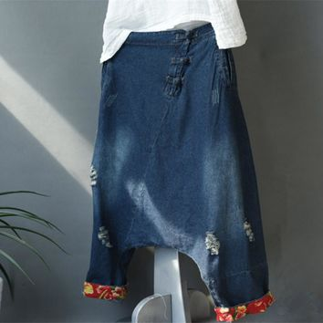 Yesno P90 Women Girl 100% Cotton Ripped Hole Baggy Harem Denim Pants Trousers Casual Chinese Frog Low Crotch Elastic Waist