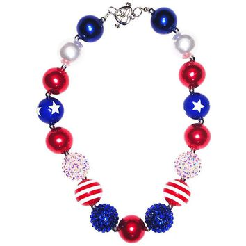Fourth Of July Star Necklace Chunky Gumball